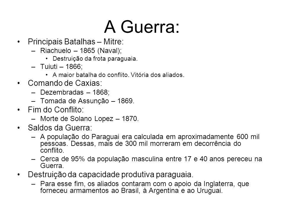 A Guerra: Principais Batalhas – Mitre: –Riachuelo – 1865 (Naval); Destruição da frota paraguaia. –Tuiuti – 1866; A maior batalha do conflito. Vitória
