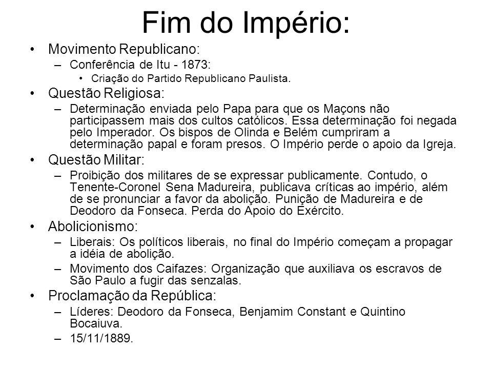 Fim do Império: Movimento Republicano: –Conferência de Itu - 1873: Criação do Partido Republicano Paulista. Questão Religiosa: –Determinação enviada p