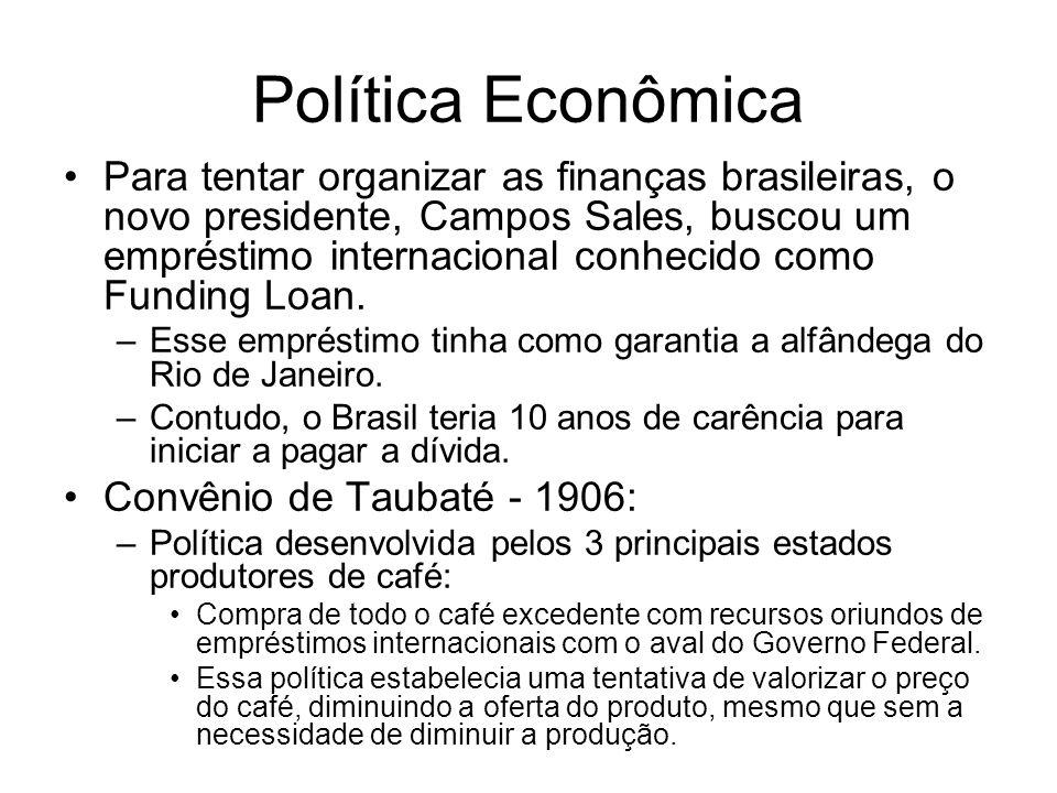 Política Econômica Para tentar organizar as finanças brasileiras, o novo presidente, Campos Sales, buscou um empréstimo internacional conhecido como F