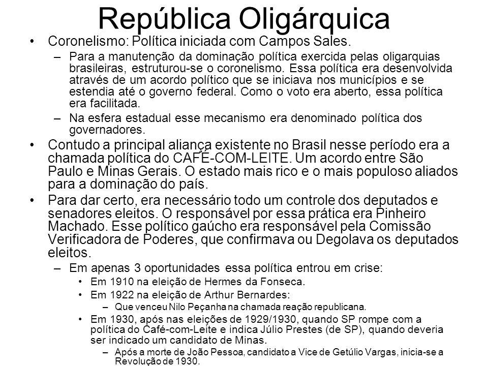 República Oligárquica Coronelismo: Política iniciada com Campos Sales. –Para a manutenção da dominação política exercida pelas oligarquias brasileiras
