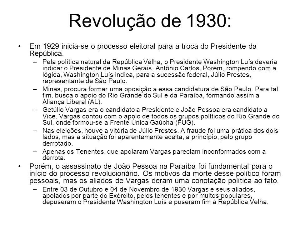 Revolução de 1930: Em 1929 inicia-se o processo eleitoral para a troca do Presidente da República. –Pela política natural da República Velha, o Presid