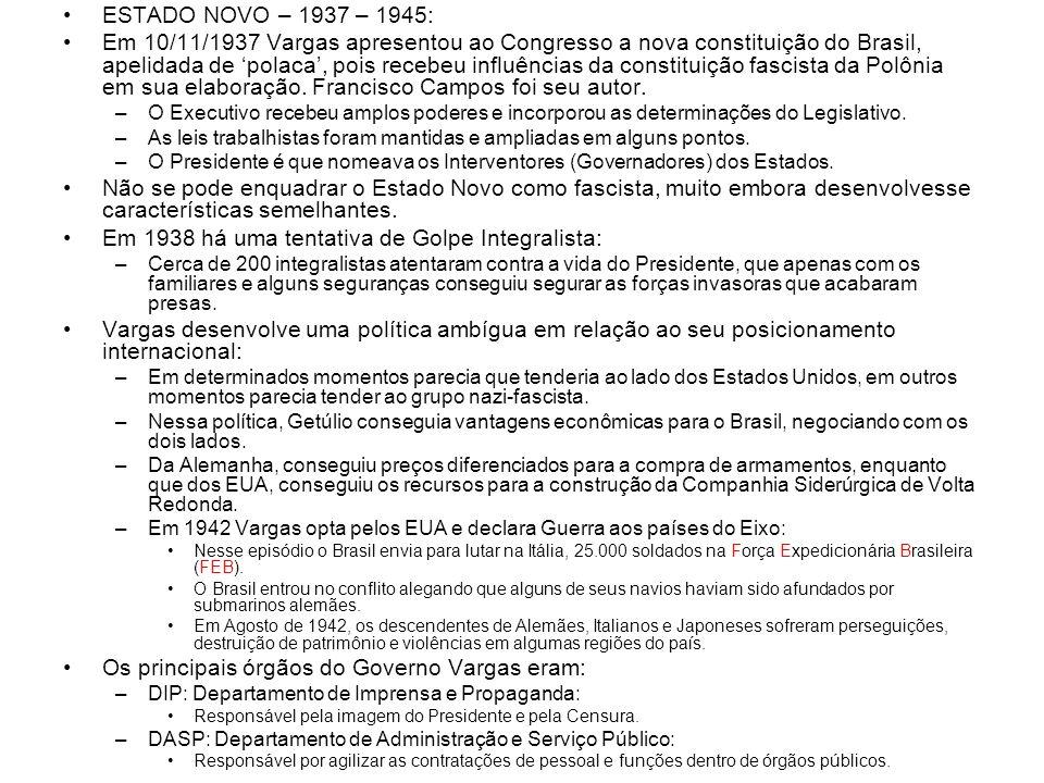 ESTADO NOVO – 1937 – 1945: Em 10/11/1937 Vargas apresentou ao Congresso a nova constituição do Brasil, apelidada de polaca, pois recebeu influências d