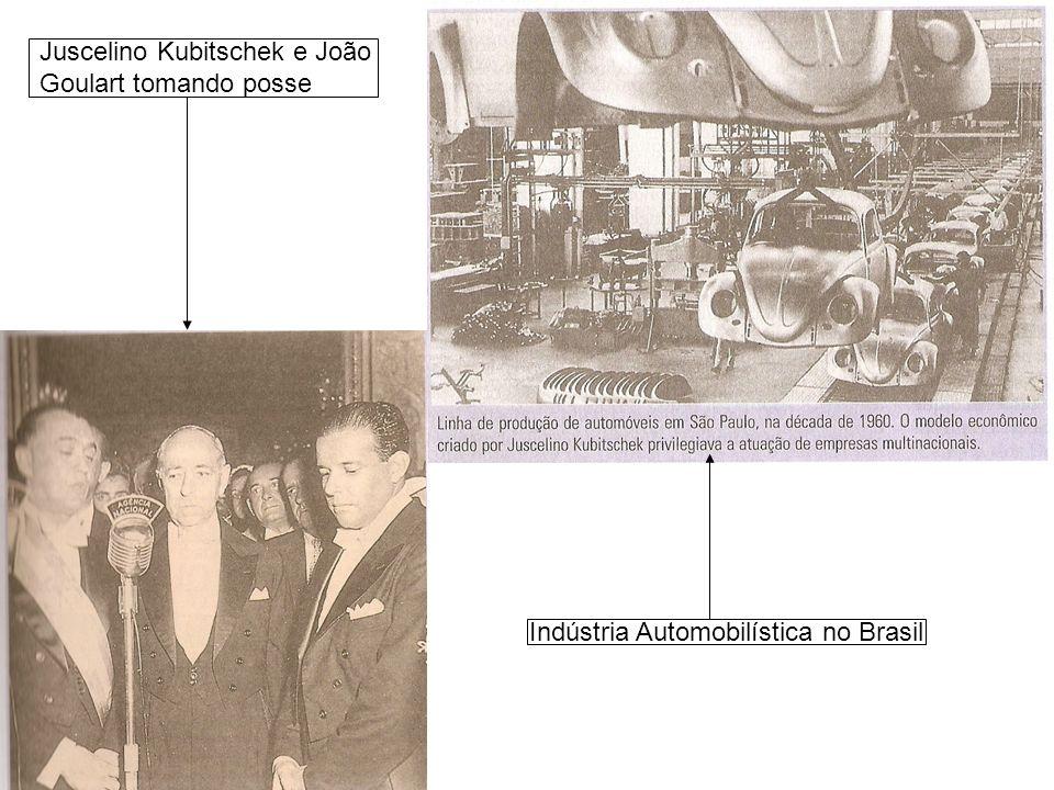 Juscelino Kubitschek e João Goulart tomando posse Indústria Automobilística no Brasil