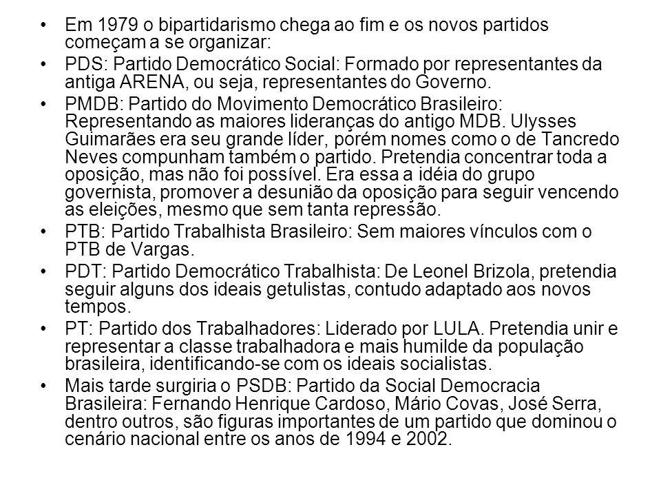 Em 1979 o bipartidarismo chega ao fim e os novos partidos começam a se organizar: PDS: Partido Democrático Social: Formado por representantes da antig