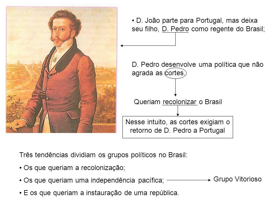 D. João parte para Portugal, mas deixa seu filho, D. Pedro como regente do Brasil; D. Pedro desenvolve uma política que não agrada as cortes. Queriam
