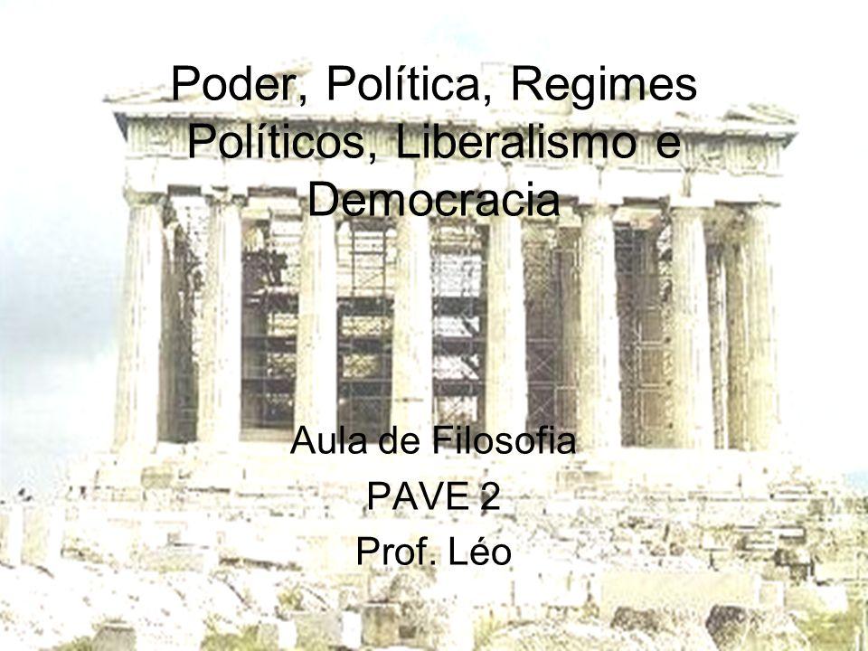 Poder, Política, Regimes Políticos, Liberalismo e Democracia Aula de Filosofia PAVE 2 Prof. Léo