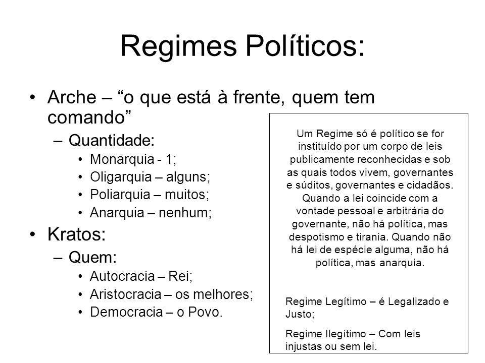 Regimes Políticos: Arche – o que está à frente, quem tem comando –Quantidade: Monarquia - 1; Oligarquia – alguns; Poliarquia – muitos; Anarquia – nenh
