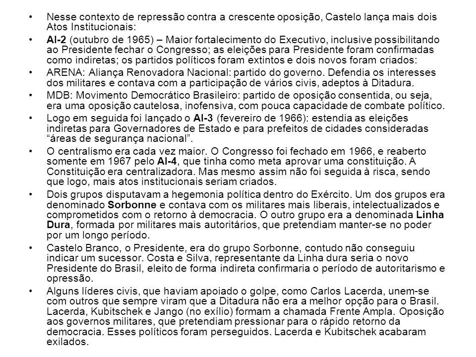 Nesse contexto de repressão contra a crescente oposição, Castelo lança mais dois Atos Institucionais: AI-2 (outubro de 1965) – Maior fortalecimento do