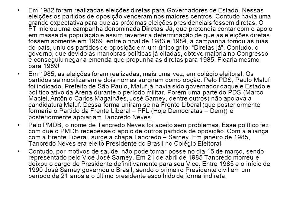 Em 1982 foram realizadas eleições diretas para Governadores de Estado. Nessas eleições os partidos de oposição venceram nos maiores centros. Contudo h