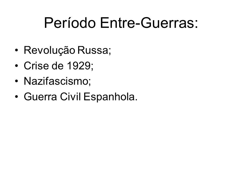 Período Entre-Guerras: Revolução Russa; Crise de 1929; Nazifascismo; Guerra Civil Espanhola.