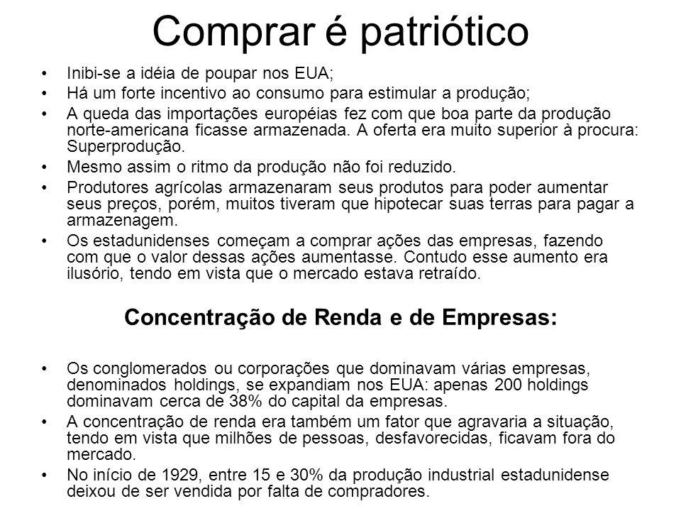 Comprar é patriótico Inibi-se a idéia de poupar nos EUA; Há um forte incentivo ao consumo para estimular a produção; A queda das importações européias