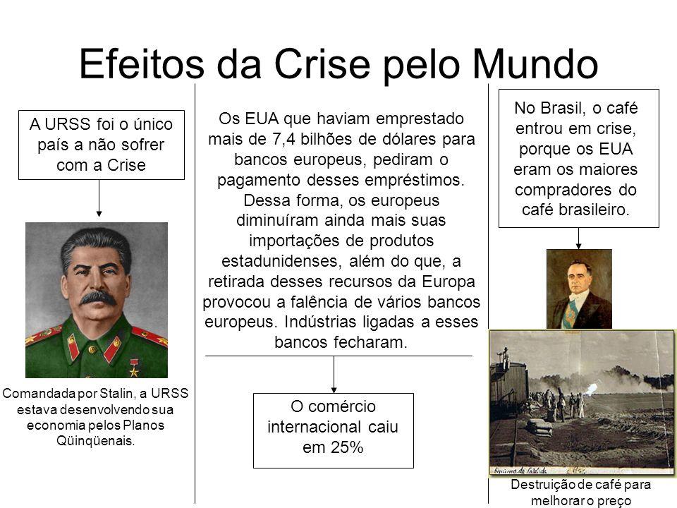 Efeitos da Crise pelo Mundo A URSS foi o único país a não sofrer com a Crise Comandada por Stalin, a URSS estava desenvolvendo sua economia pelos Plan