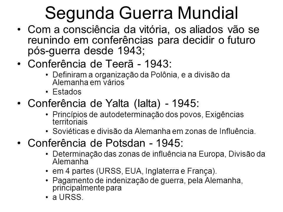 Segunda Guerra Mundial Com a consciência da vitória, os aliados vão se reunindo em conferências para decidir o futuro pós-guerra desde 1943; Conferênc