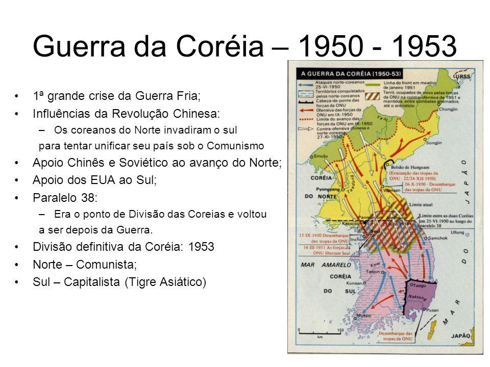Guerra da Coréia – 1950 - 1953 1ª grande crise da Guerra Fria; Influências da Revolução Chinesa: –Os coreanos do Norte invadiram o sul para tentar uni