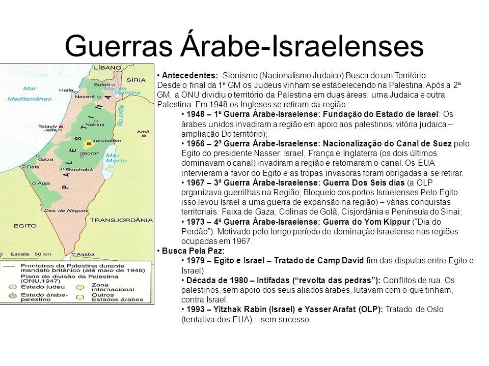 Guerras Árabe-Israelenses Antecedentes: Sionismo (Nacionalismo Judaico) Busca de um Território: Desde o final da 1ª GM os Judeus vinham se estabelecen