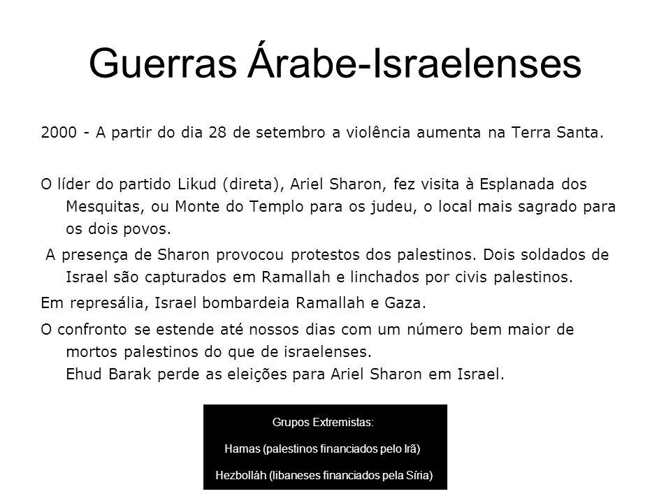 Guerras Árabe-Israelenses 2000 - A partir do dia 28 de setembro a violência aumenta na Terra Santa. O líder do partido Likud (direta), Ariel Sharon, f