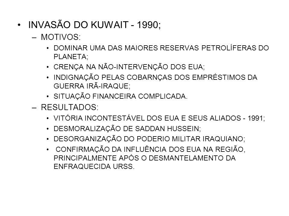 INVASÃO DO KUWAIT - 1990; –MOTIVOS: DOMINAR UMA DAS MAIORES RESERVAS PETROLÍFERAS DO PLANETA; CRENÇA NA NÃO-INTERVENÇÃO DOS EUA; INDIGNAÇÃO PELAS COBA