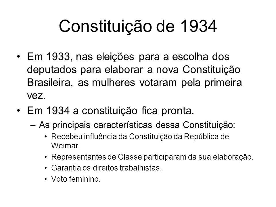 Constituição de 1934 Em 1933, nas eleições para a escolha dos deputados para elaborar a nova Constituição Brasileira, as mulheres votaram pela primeir