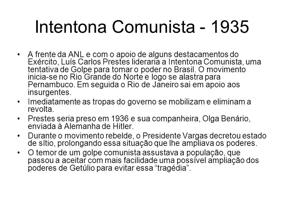Intentona Comunista - 1935 A frente da ANL e com o apoio de alguns destacamentos do Exército, Luís Carlos Prestes lideraria a Intentona Comunista, uma