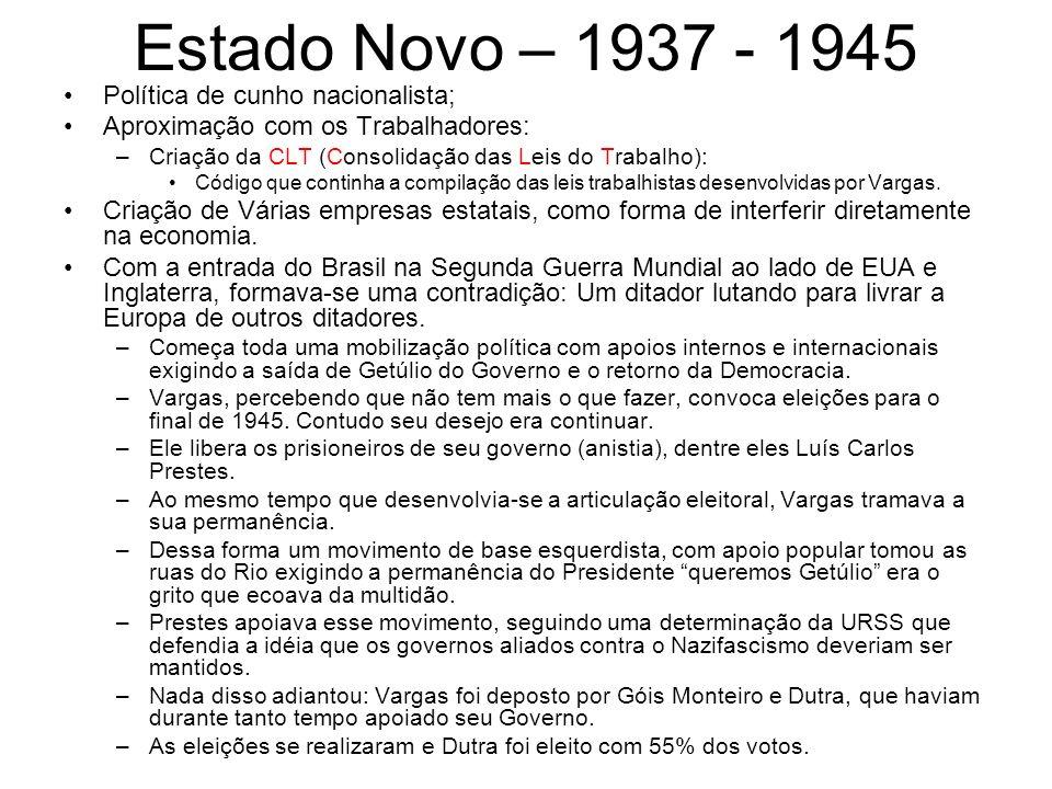 Estado Novo – 1937 - 1945 Política de cunho nacionalista; Aproximação com os Trabalhadores: –Criação da CLT (Consolidação das Leis do Trabalho): Códig