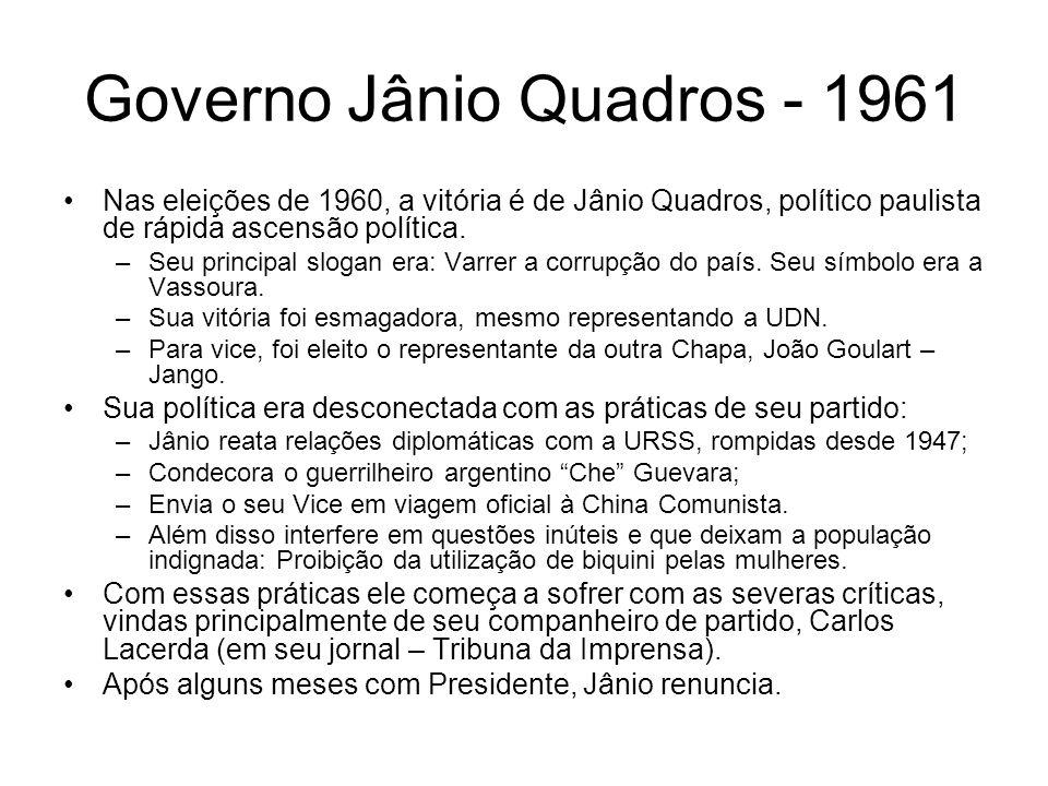 Governo Jânio Quadros - 1961 Nas eleições de 1960, a vitória é de Jânio Quadros, político paulista de rápida ascensão política. –Seu principal slogan