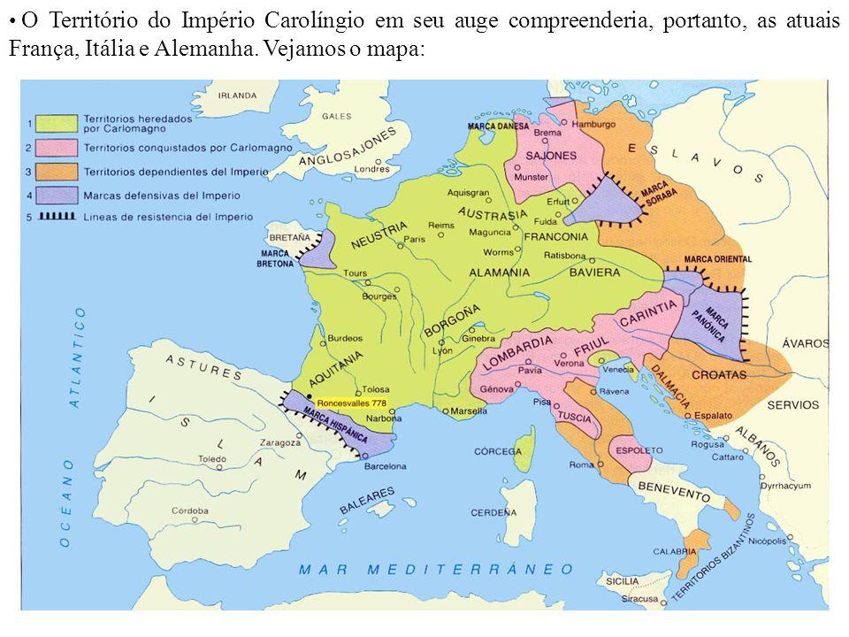 O Território do Império Carolíngio em seu auge compreenderia, portanto, as atuais França, Itália e Alemanha. Vejamos o mapa: