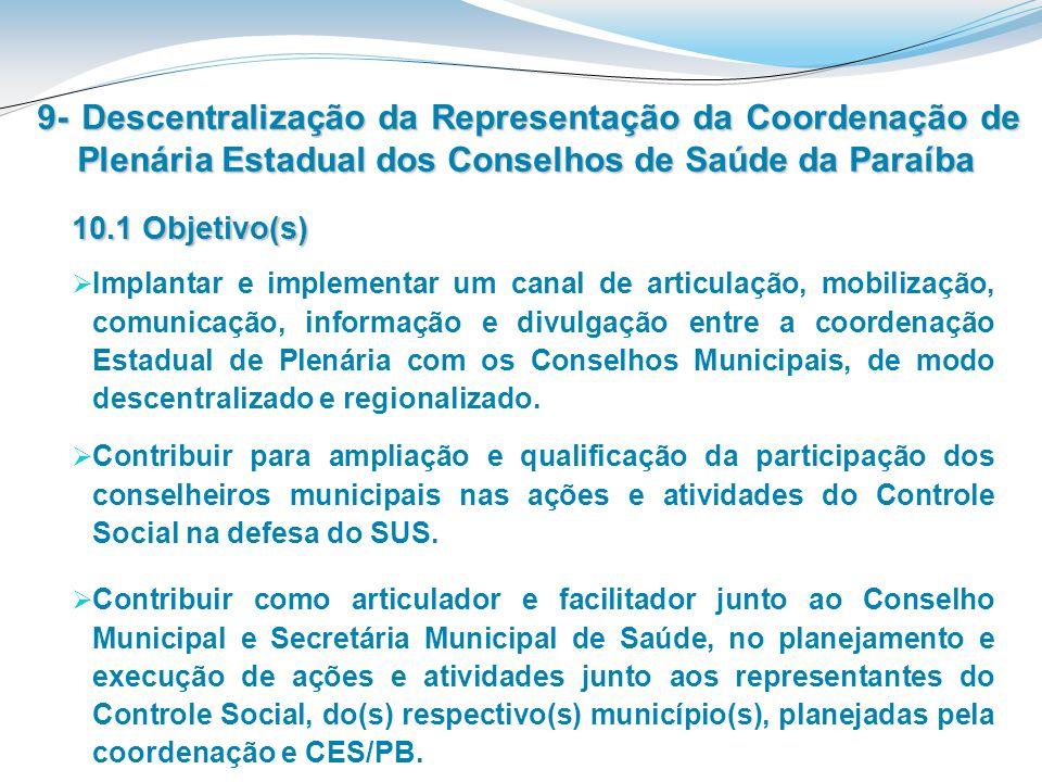 9- Descentralização da Representação da Coordenação de Plenária Estadual dos Conselhos de Saúde da Paraíba Contribuir como articulador e facilitador j