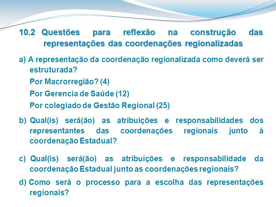 c) Qual(is) será(ão) as atribuições e responsabilidade da coordenação Estadual junto as coordenações regionais? a) A representação da coordenação regi