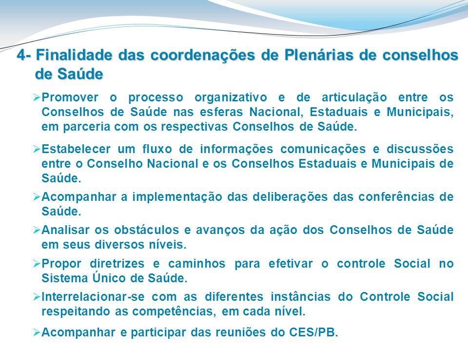 4- Finalidade das coordenações de Plenárias de conselhos de Saúde Promover o processo organizativo e de articulação entre os Conselhos de Saúde nas es
