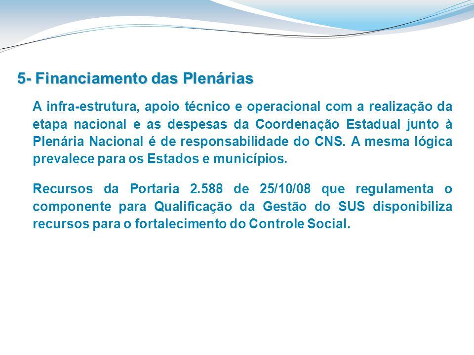 5- Financiamento das Plenárias A infra-estrutura, apoio técnico e operacional com a realização da etapa nacional e as despesas da Coordenação Estadual