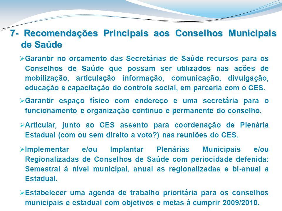 7- Recomendações Principais aos Conselhos Municipais de Saúde Garantir no orçamento das Secretárias de Saúde recursos para os Conselhos de Saúde que p