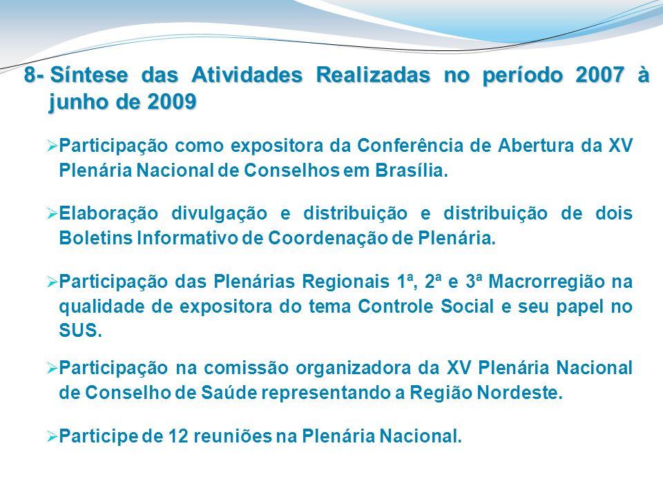 8- Síntese das Atividades Realizadas no período 2007 à junho de 2009 Participe de 12 reuniões na Plenária Nacional. Participação na comissão organizad