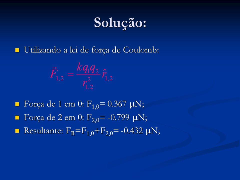 Solução: Utilizando a lei de força de Coulomb: Utilizando a lei de força de Coulomb: Força de 1 em 0: F 1,0 = 0.367 N; Força de 1 em 0: F 1,0 = 0.367