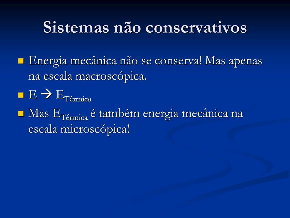 Sistemas não conservativos Energia mecânica não se conserva! Mas apenas na escala macroscópica. Energia mecânica não se conserva! Mas apenas na escala