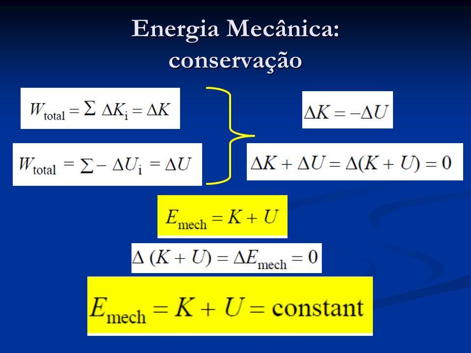 Conservação de Energia forças não conservativas sistemas fechados Forças de atrito – reduzem a energia mecânica; Forças de atrito – reduzem a energia mecânica; Forças de deformação plástica (não elástica); Forças de deformação plástica (não elástica); Reações químicas; Reações químicas; Radiação, ondas acústicas e eletromagnéticas.