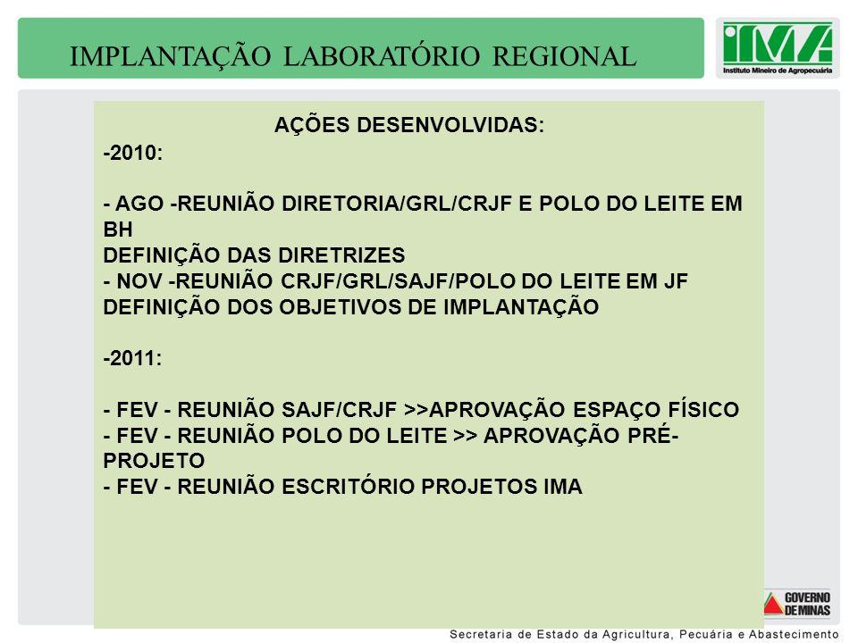 IMPLANTAÇÃO LABORATÓRIO REGIONAL AÇÕES DESENVOLVIDAS: -2010: - AGO -REUNIÃO DIRETORIA/GRL/CRJF E POLO DO LEITE EM BH DEFINIÇÃO DAS DIRETRIZES - NOV -R