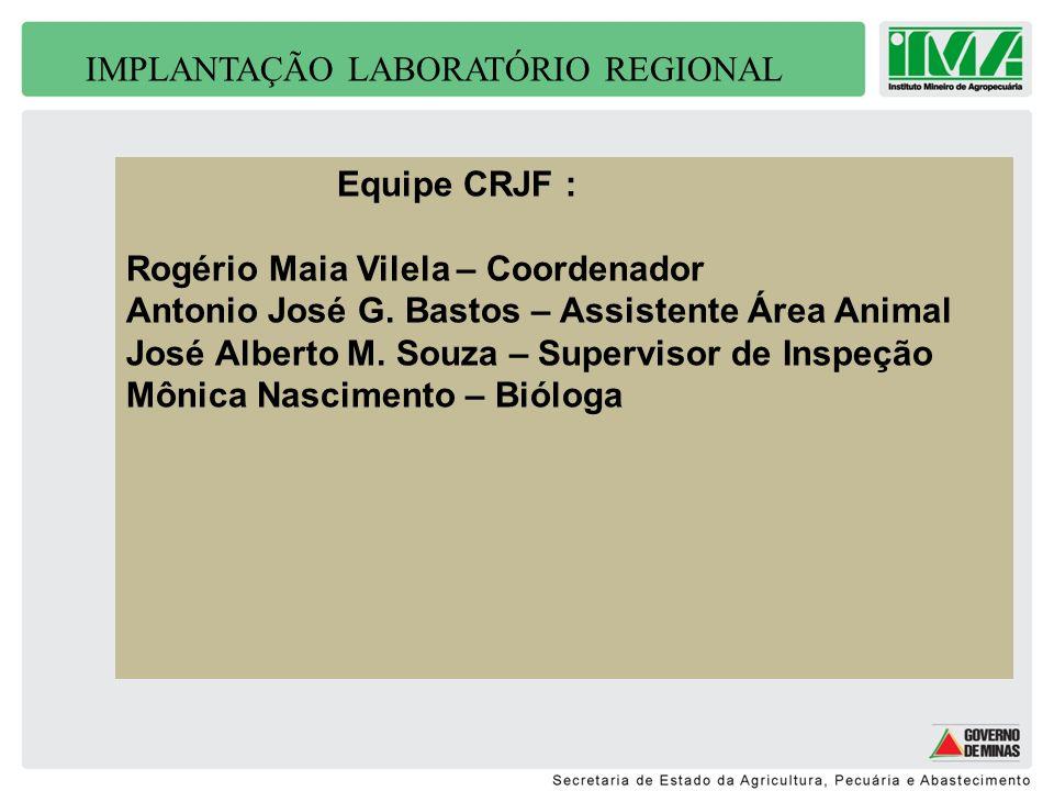 IMPLANTAÇÃO LABORATÓRIO REGIONAL Equipe CRJF : Rogério Maia Vilela – Coordenador Antonio José G. Bastos – Assistente Área Animal José Alberto M. Souza