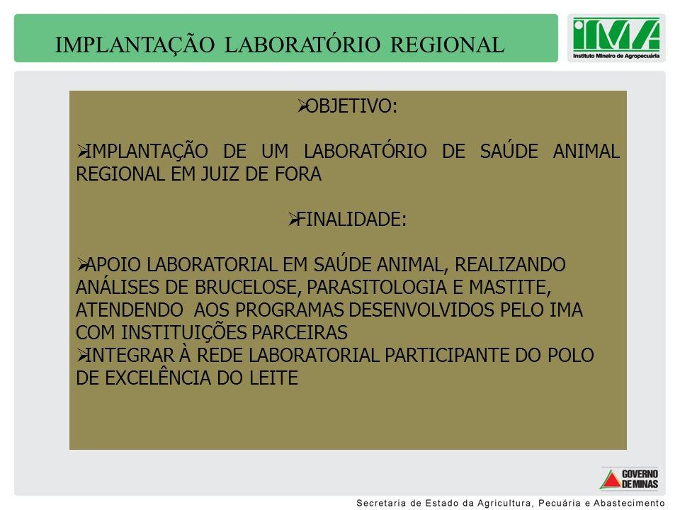 IMPLANTAÇÃO LABORATÓRIO REGIONAL OBJETIVO: IMPLANTAÇÃO DE UM LABORATÓRIO DE SAÚDE ANIMAL REGIONAL EM JUIZ DE FORA FINALIDADE: APOIO LABORATORIAL EM SA