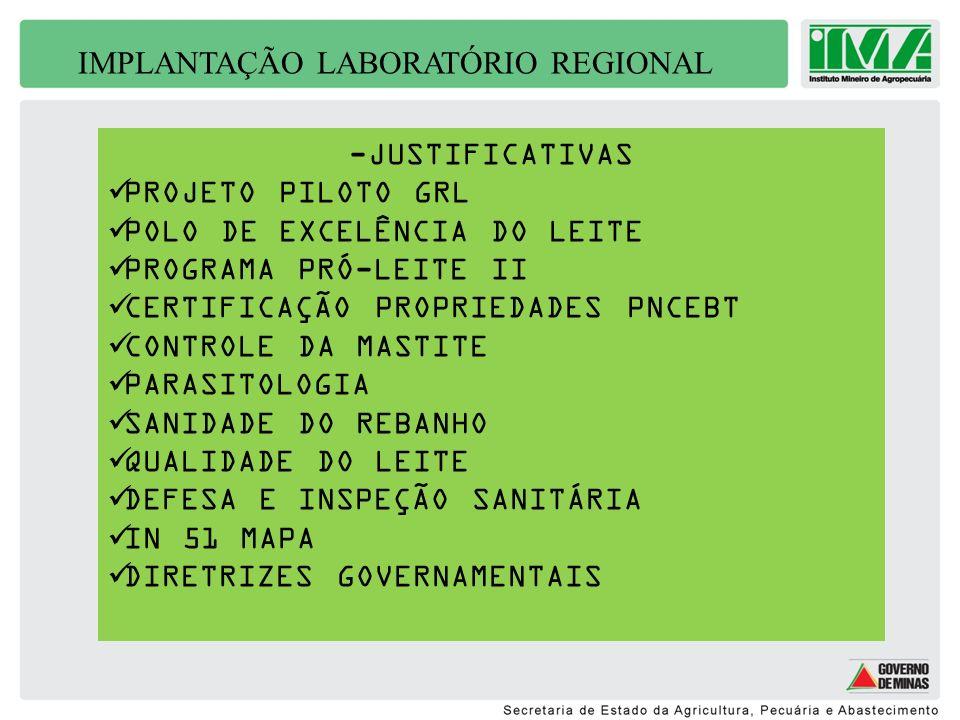 IMPLANTAÇÃO LABORATÓRIO REGIONAL -PARCERIAS SECRETARIA AGRICULTURA JUIZ DE FORA ESPAÇO FÍSICO DE 120 M2 (EM FASE DE LICITAÇÃO PARA CONSTRUÇÃO) POLO DO LEITE/SECTES/FAPEMIG RECURSOS : R$300.000,00 COMPRA DE EQUIPAMENTOS/MATERIAIS BOLSISTAS CONSULTORIA