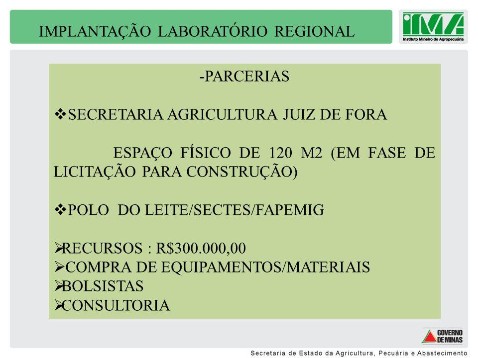 IMPLANTAÇÃO LABORATÓRIO REGIONAL -PARCERIAS SECRETARIA AGRICULTURA JUIZ DE FORA ESPAÇO FÍSICO DE 120 M2 (EM FASE DE LICITAÇÃO PARA CONSTRUÇÃO) POLO DO