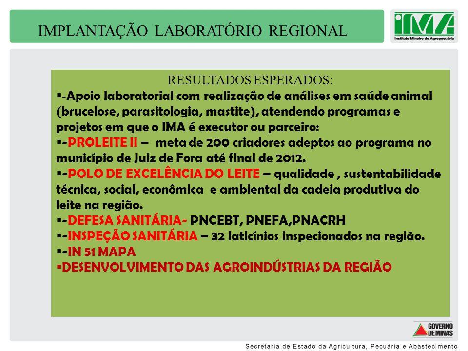 IMPLANTAÇÃO LABORATÓRIO REGIONAL RESULTADOS ESPERADOS: - Apoio laboratorial com realização de análises em saúde animal (brucelose, parasitologia, mast