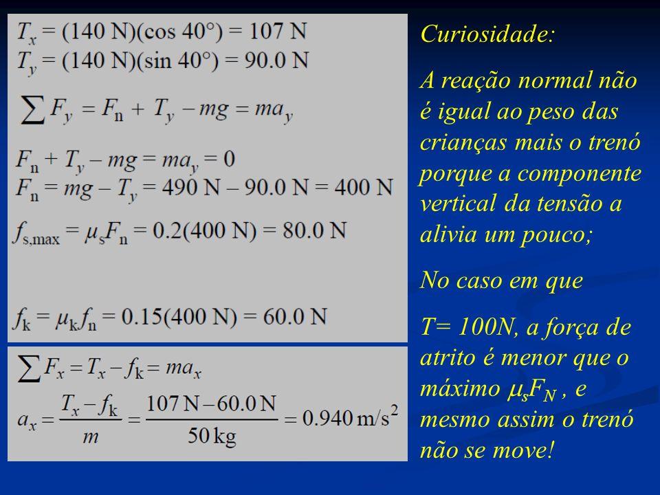Curiosidade: A reação normal não é igual ao peso das crianças mais o trenó porque a componente vertical da tensão a alivia um pouco; No caso em que T=