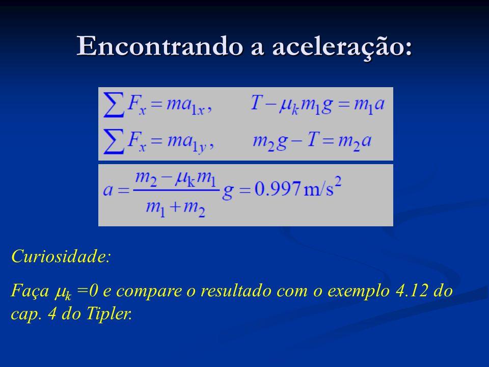 Encontrando a aceleração: Curiosidade: Faça k =0 e compare o resultado com o exemplo 4.12 do cap. 4 do Tipler.