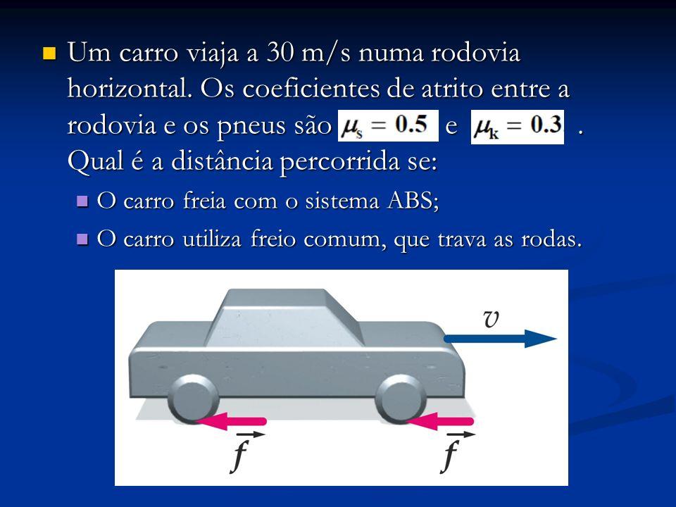 Um carro viaja a 30 m/s numa rodovia horizontal. Os coeficientes de atrito entre a rodovia e os pneus são e. Qual é a distância percorrida se: Um carr