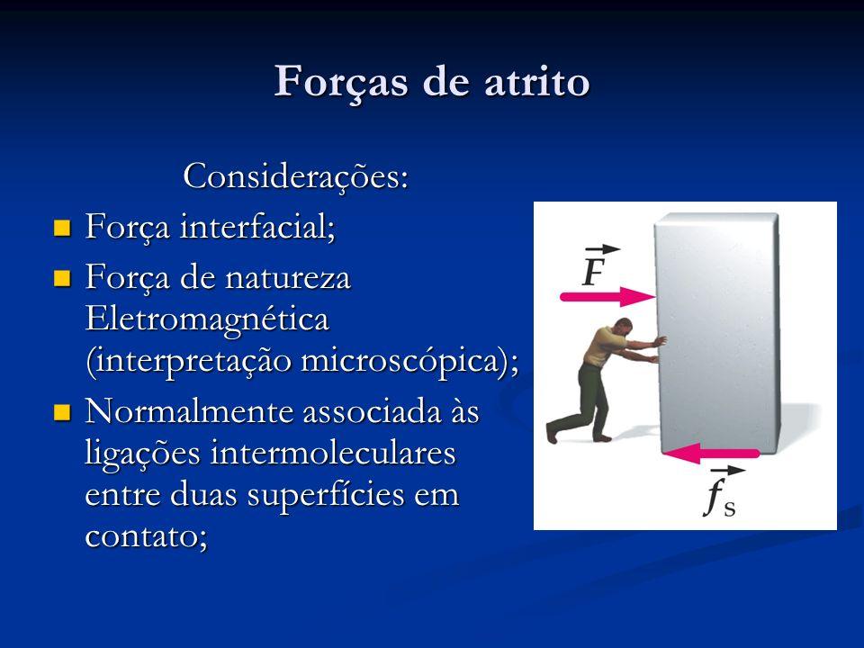 Forças de atrito Considerações: Força interfacial; Força interfacial; Força de natureza Eletromagnética (interpretação microscópica); Força de naturez