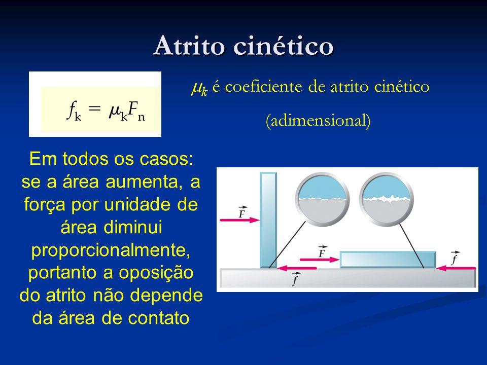 Atrito cinético k é coeficiente de atrito cinético (adimensional) Em todos os casos: se a área aumenta, a força por unidade de área diminui proporcion