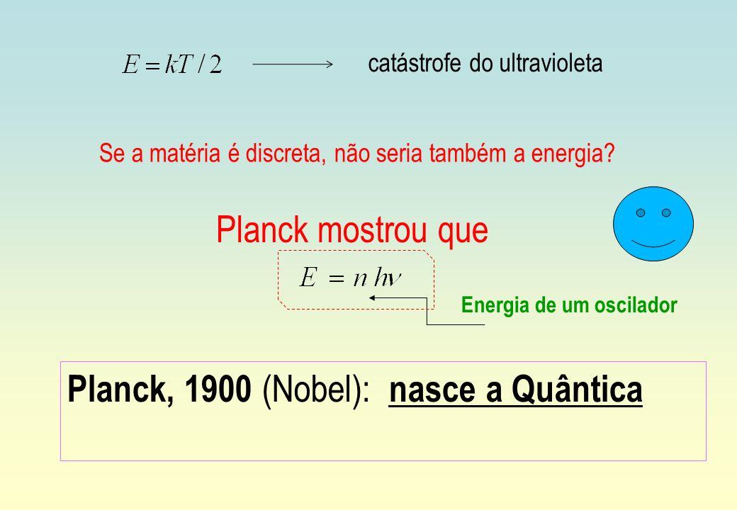 Planck, 1900 (Nobel): nasce a Quântica Energia de um oscilador catástrofe do ultravioleta Se a matéria é discreta, não seria também a energia? Planck