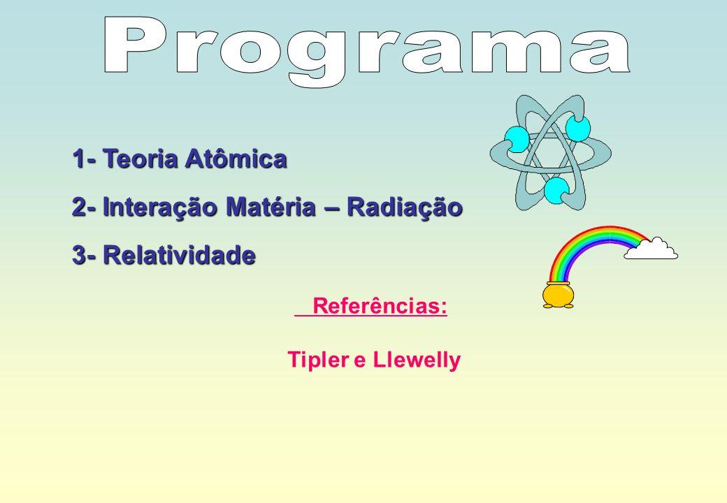1- Teoria Atômica 2- Interação Matéria – Radiação 3- Relatividade Referências: Tipler e Llewelly