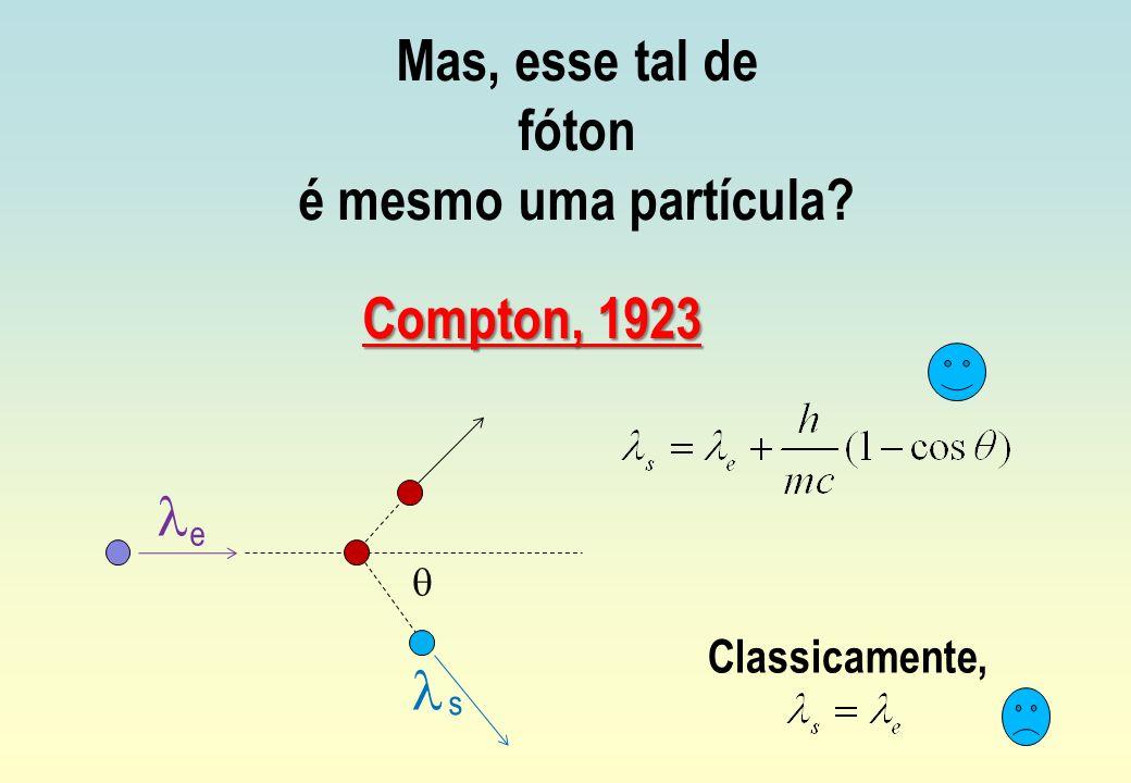 Mas, esse tal de fóton é mesmo uma partícula? Compton, 1923 e s Classicamente,