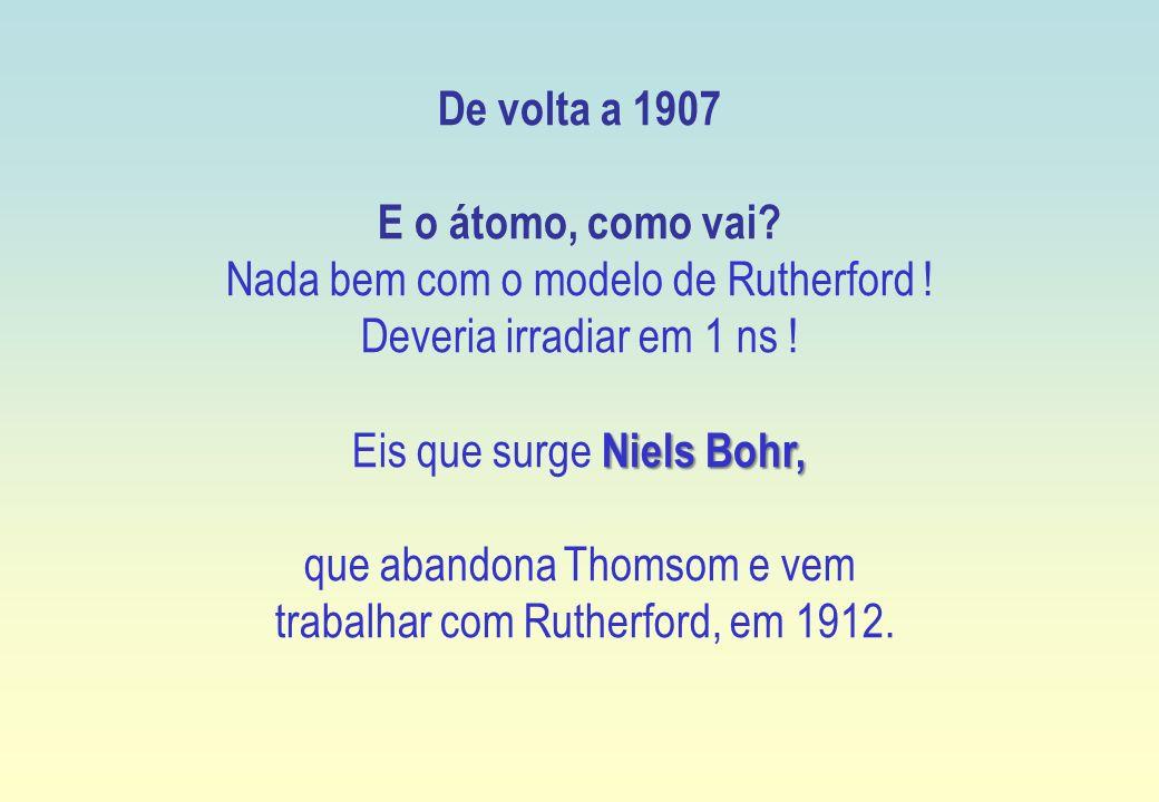 De volta a 1907 E o átomo, como vai? Nada bem com o modelo de Rutherford ! Deveria irradiar em 1 ns ! Niels Bohr, Eis que surge Niels Bohr, que abando